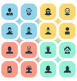 set of simple member icons vector image vector image
