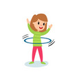 smiling little girl character spinning a hula hoop vector image vector image