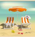 summer recliners and beach umbrella beach sand vector image vector image