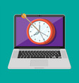 target with bow arrow and clock on laptop screen vector image vector image