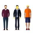 Three men flat style icon people figures vector image vector image