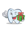 tooth character cartoon style with gift vector image vector image