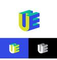 u e and h logo volume monogram vector image vector image