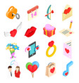 Valentines isometric 3d icons set vector image vector image