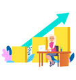 woman secretary sits at table arrow grow to top vector image vector image