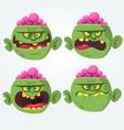 zombie head scary cartoon emotion flat icons vector image