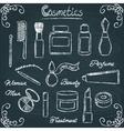 Chalkboard cosmetic bottles set 3 vector image