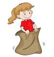 a girl in a sack vector image vector image