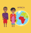 africa on globe and people