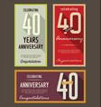 anniversasry retro background 40 years vector image vector image