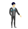 asian groom with hand in his pocket vector image vector image