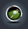 billiard game steely rounded badge icon for ui vector image vector image