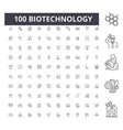 biotechnology line icons signs set vector image vector image