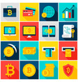 bitcoin currency colorful icons vector image