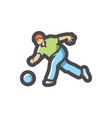 bowling player athlete icon cartoon vector image
