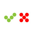 check mark icons of dots green tick and red cross vector image