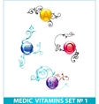 colored shiny medic circle pills set isolated vector image vector image