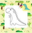 cute cartoon dino coloring page vector image