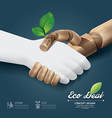 eco deal concept with hand wood vector image vector image