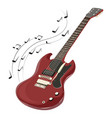 electric guitar makes a sound colored guitar with vector image vector image