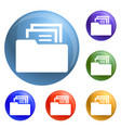 file folder icons set vector image