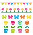 flowers and design elements set vector image