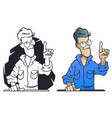 funny little men young man showing idea gesture vector image vector image