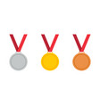 gold bronze and silver medal with ribbon icon of vector image