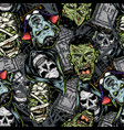 halloween vintage colorful seamless pattern vector image vector image