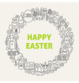 Happy Easter Line Art Icons Set Circle vector image