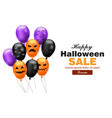 happy halloween sales card with colorful balloons vector image vector image