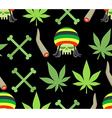 Jamaica drugs seamless pattern Rasta skull and vector image vector image