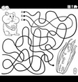 line maze with cartoon hamster and corn cob vector image vector image