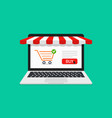 online store online shop in laptop icon of vector image vector image