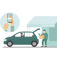 pick up point in food supermarket safe shopping vector image