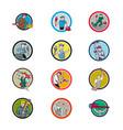 plumber mascot circle cartoon set vector image vector image