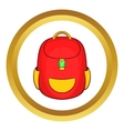 Red backpack icon vector image vector image