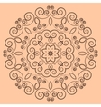 Round lacy brown pattern on beige background vector image