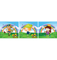 Scene with kids in the park vector image vector image