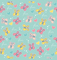 seamless pattern with doodle butterflies vector image vector image
