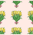 seamless pattern with hand drawn tulip bouqet vector image vector image