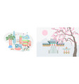 seoul city and traditional village vector image vector image