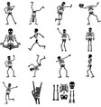 set funny skeletons silhouette vector image