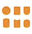 set of empty wooden cutting boards vector image vector image