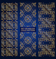 Set of golden lace pattern blue vector image
