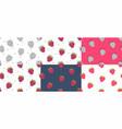 set of red raspberries seamless pattern vector image vector image