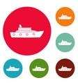ship sea icons circle set vector image vector image