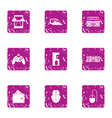 spending entertainment icons set grunge style vector image vector image