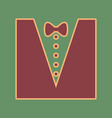 tuxedo with bow silhouette cordovan icon vector image