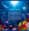 underwater world square background tropical sea vector image
